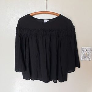 GAP Women's Black Tiered Ruffle Blouse, Sz L